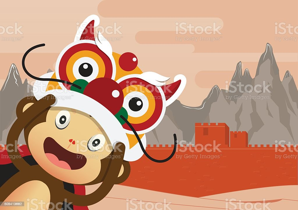 Monkey cartoon character and Great Wall of China Background. vector art illustration