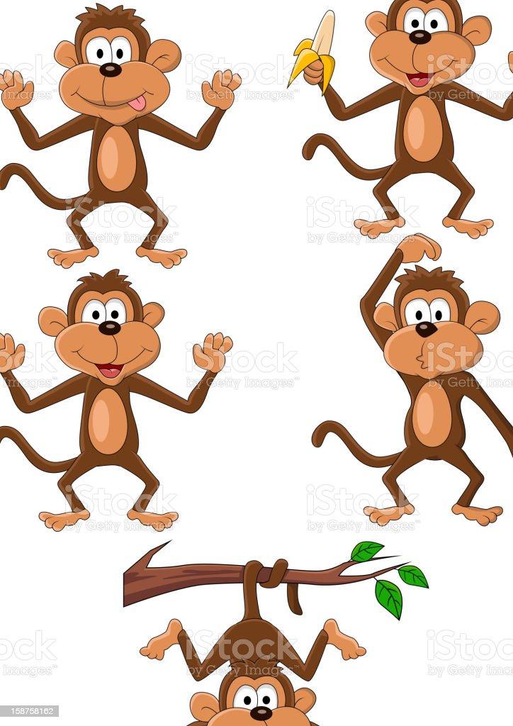 Monkey cartoon set vector art illustration