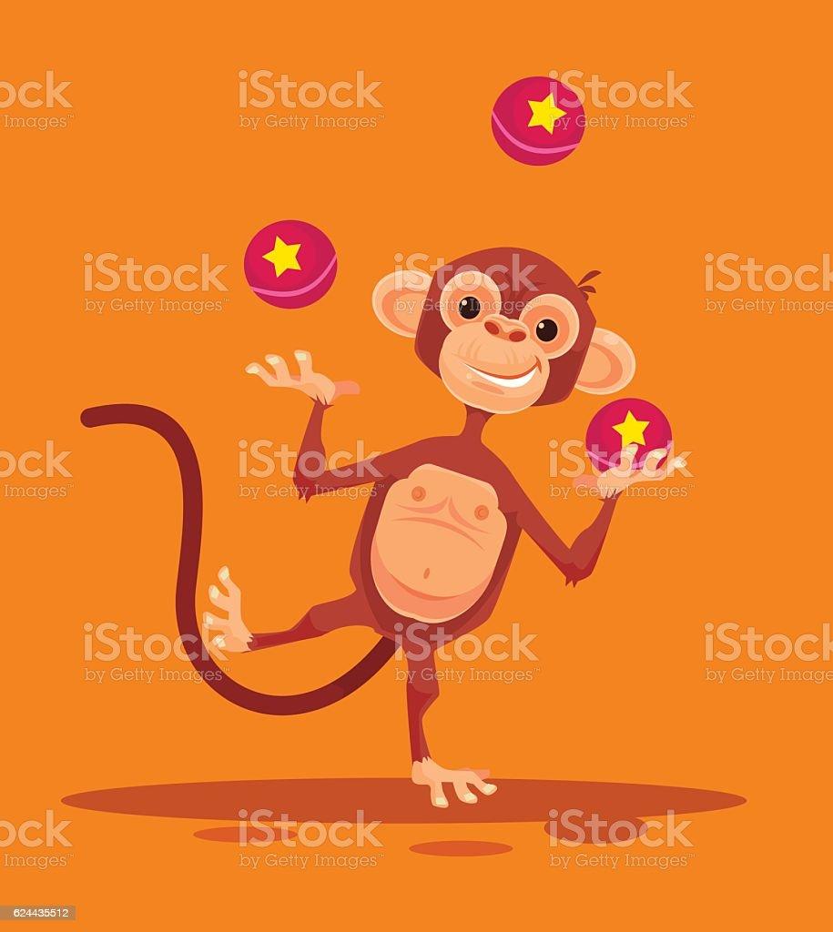 Monkey character juggling balls vector art illustration