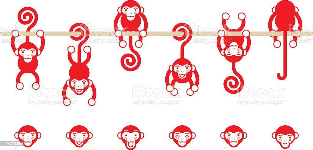 Monkey character vector art illustration