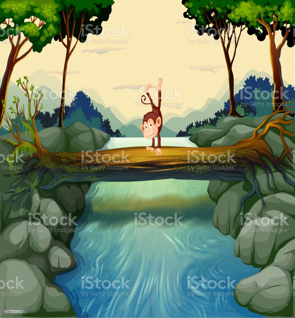 Monkey crossing the river royalty-free stock vector art