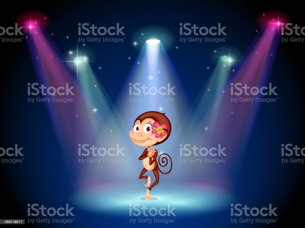 monkey dancing at the center of stage royalty-free stock vector art