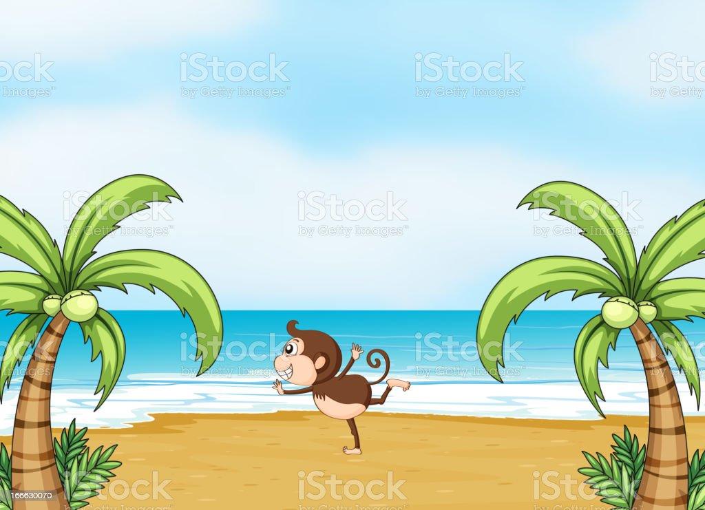 Monkey dancing on a beach royalty-free stock vector art
