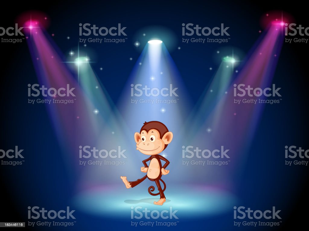 monkey dancing on the stage with spotlights royalty-free stock vector art