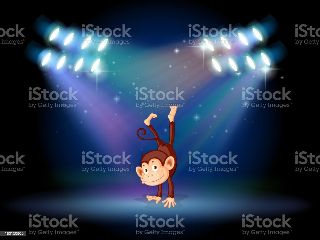 monkey doing a handstand in the middle of stage royalty-free stock vector art