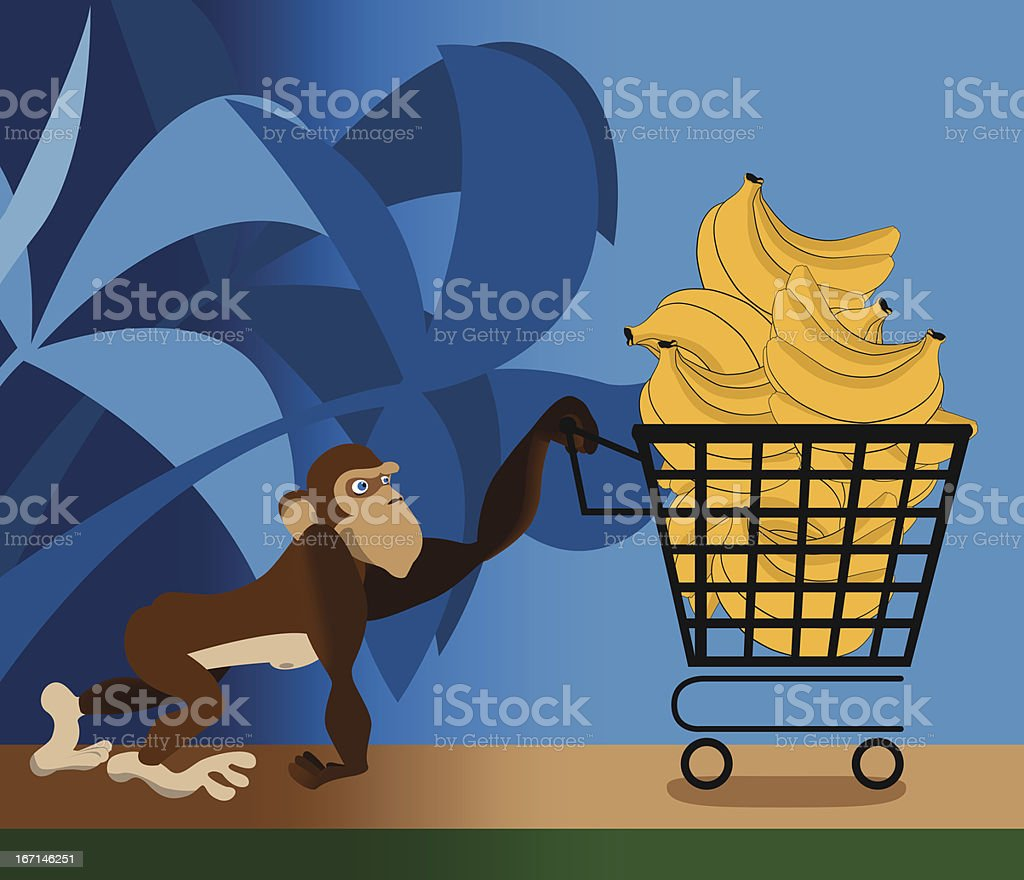 Monkey doing grocery shopping royalty-free stock vector art