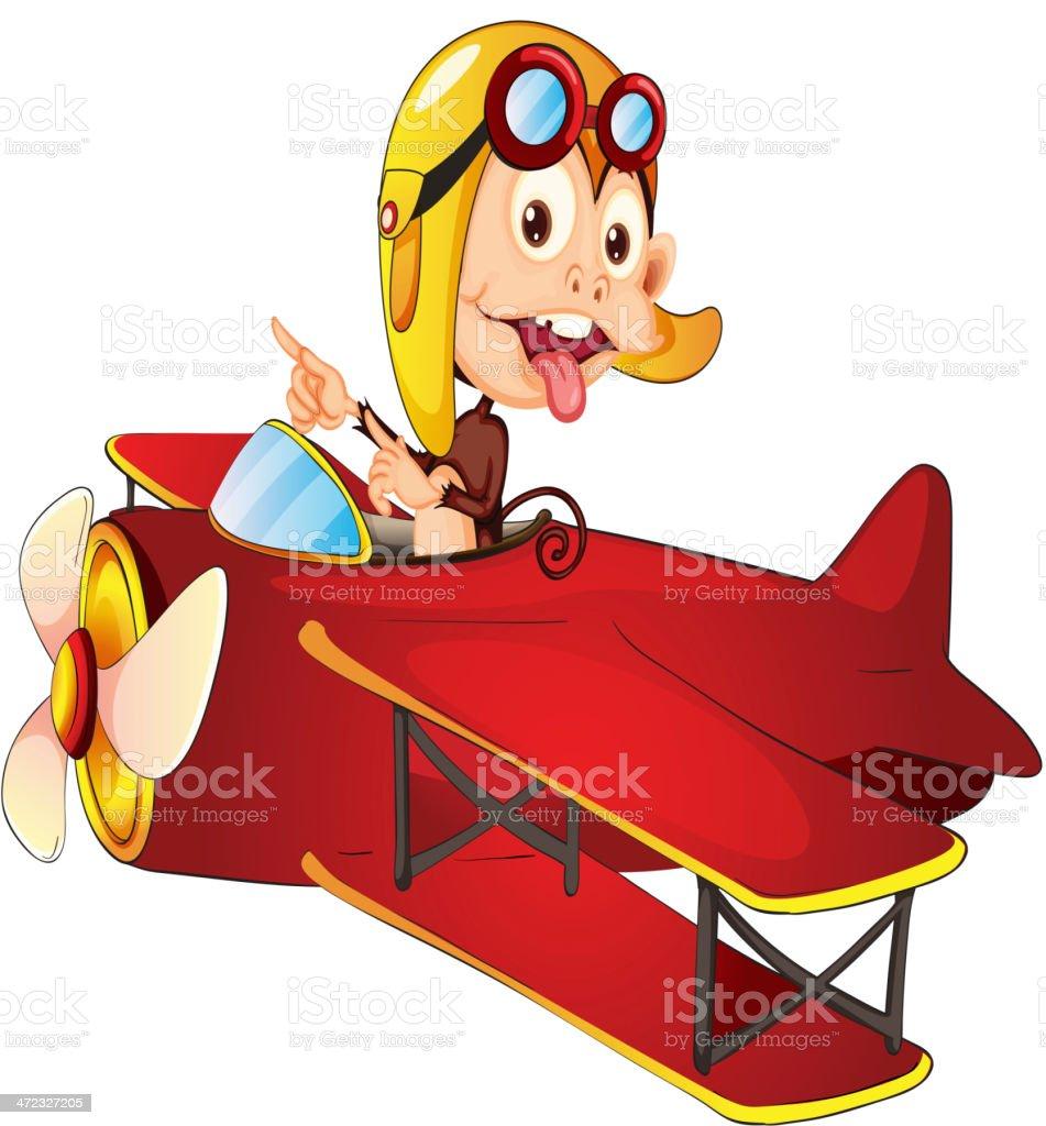 Monkey driving aircraft royalty-free stock vector art