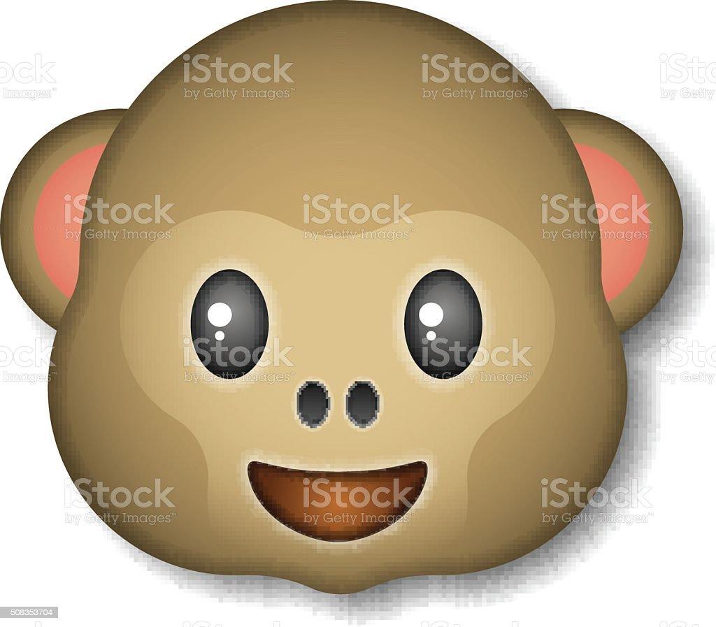 Monkey emoticon, icon, logo, symbol, vector illustration. vector art illustration