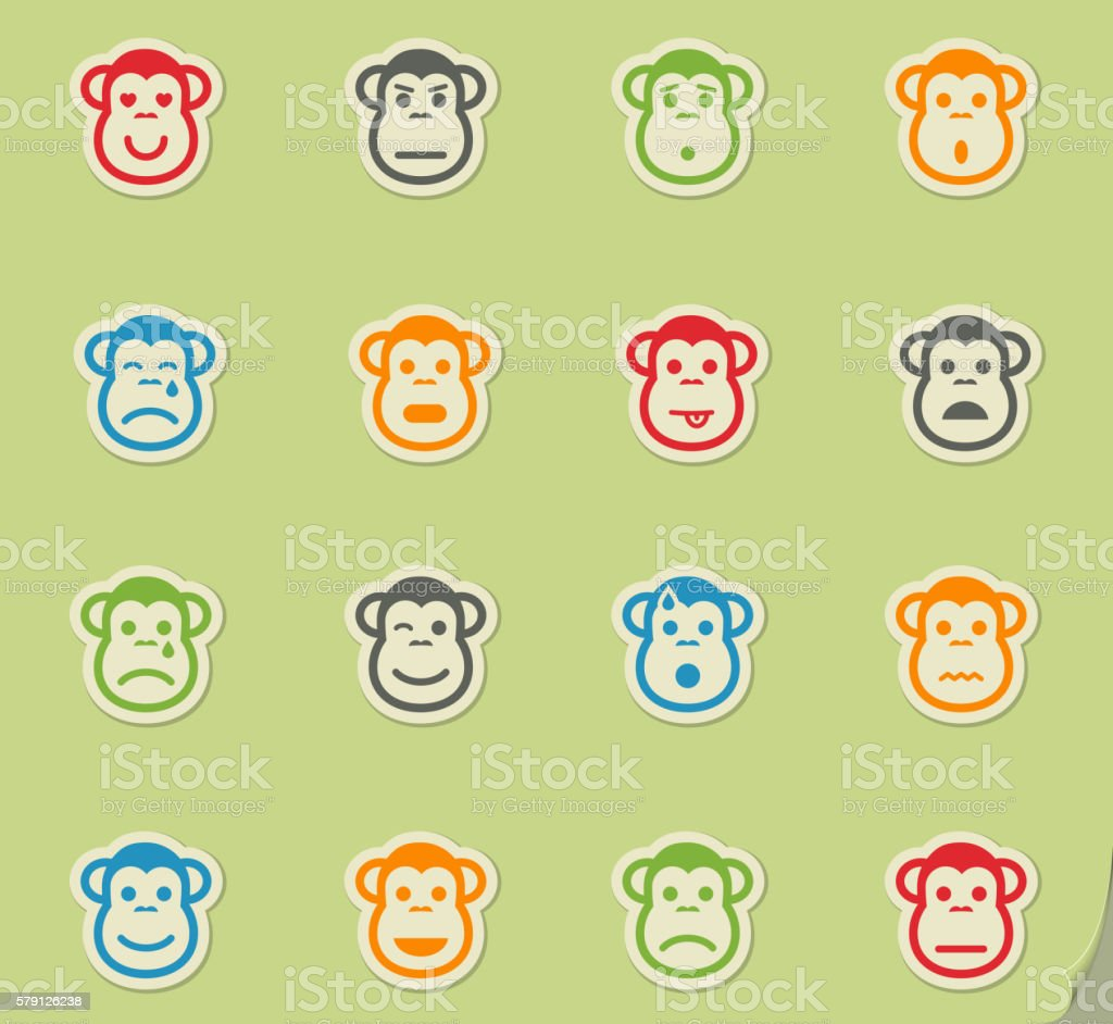 Monkey emotions simply icons vector art illustration