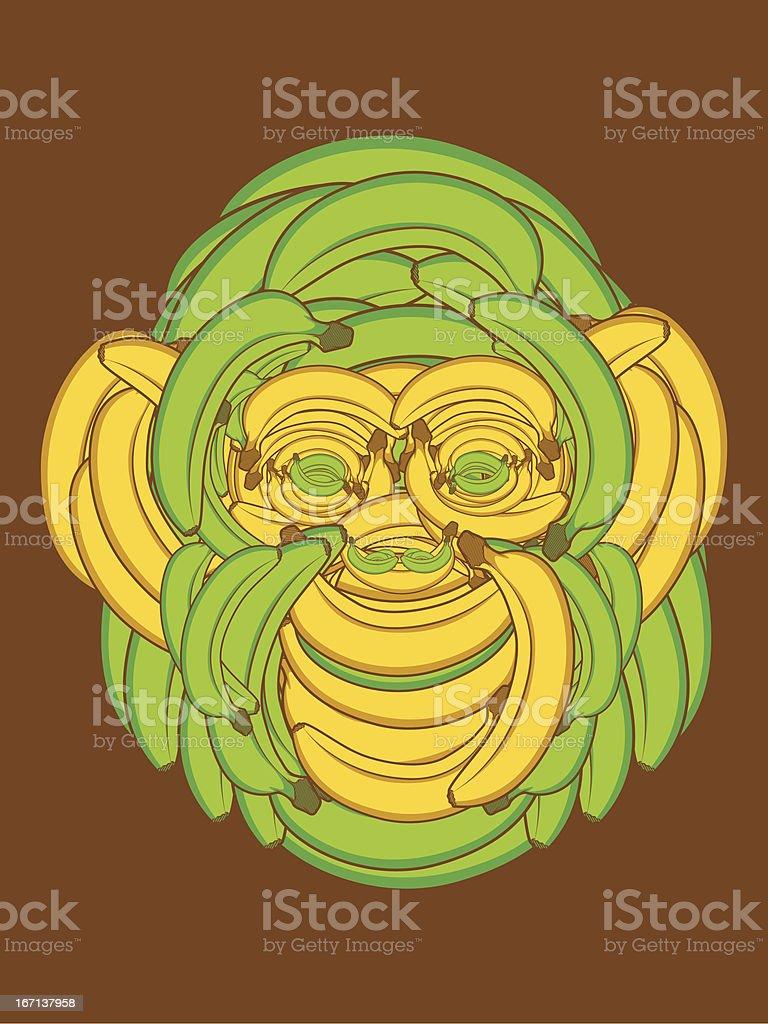 Monkey Face made up of Bananas royalty-free stock vector art