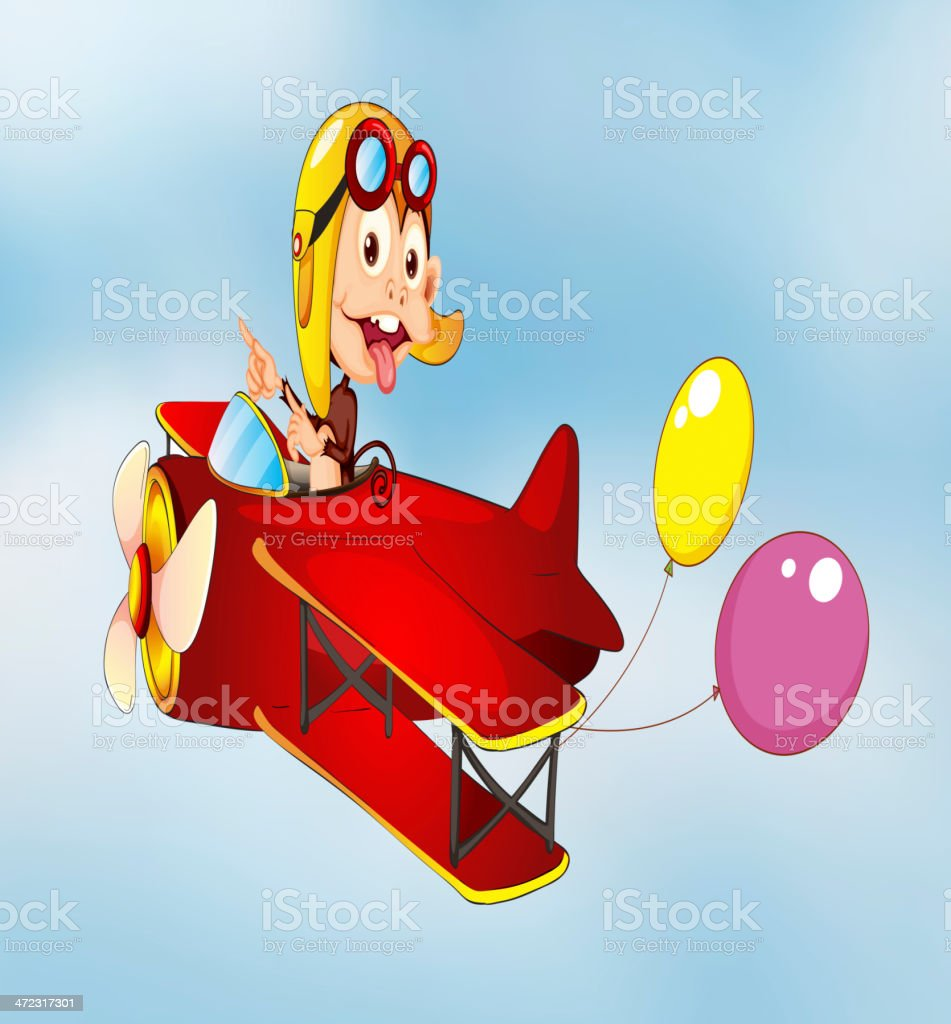 monkey flying in aircraft with balloons royalty-free stock vector art