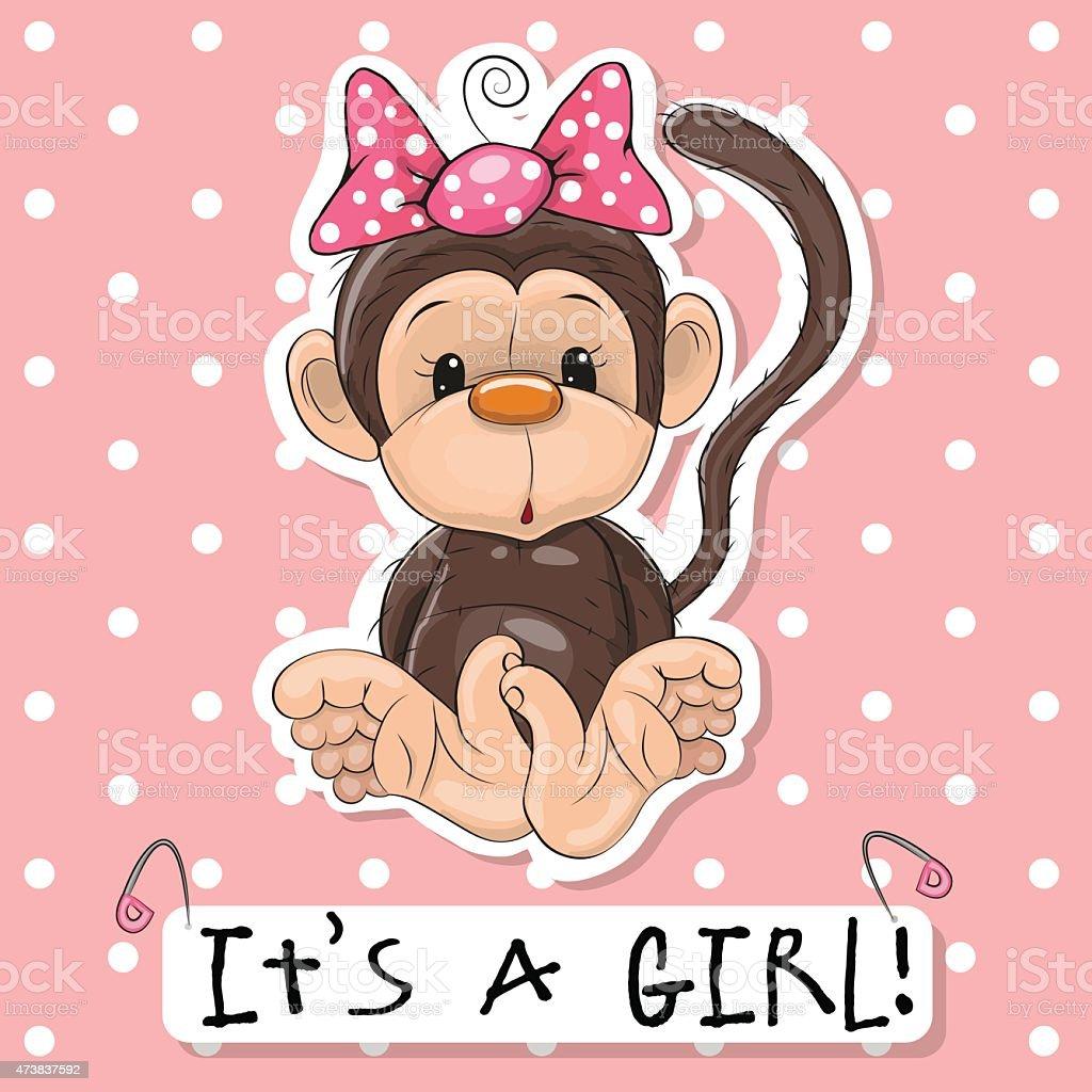 Monkey girl vector art illustration
