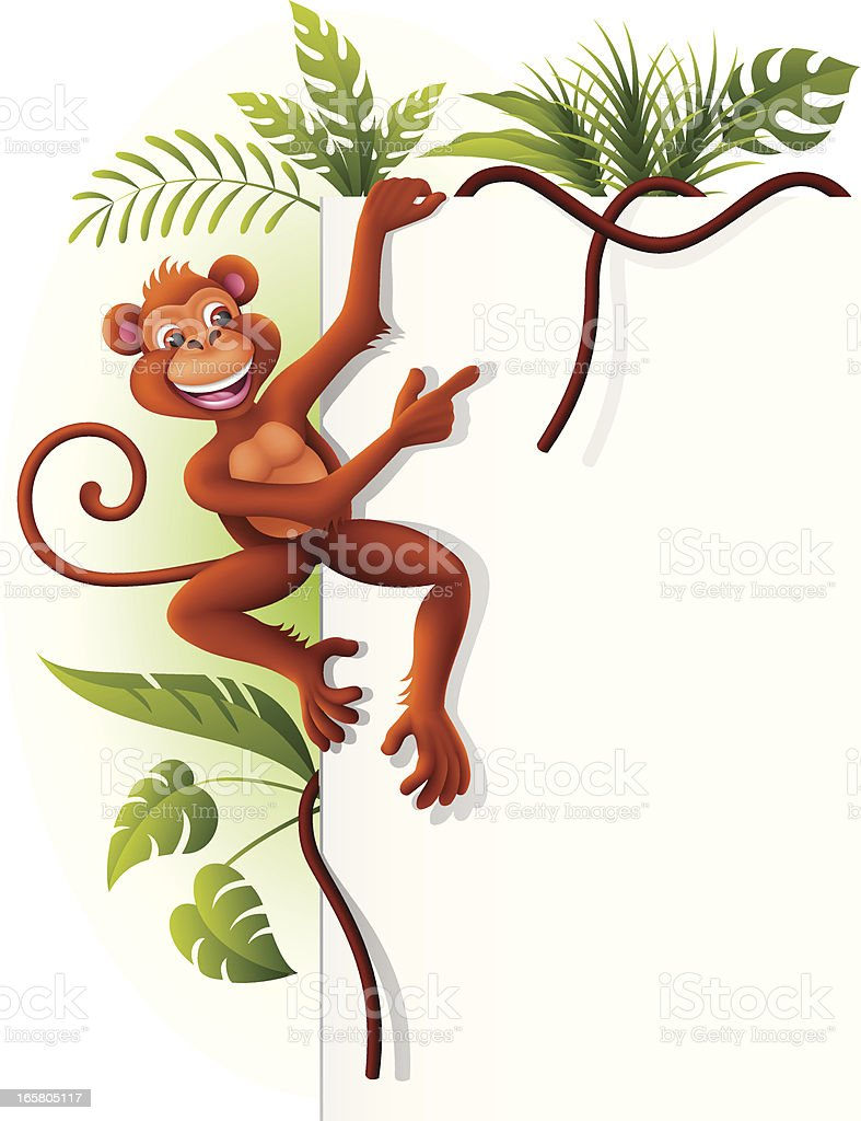 Monkey hanging on a sign royalty-free stock vector art