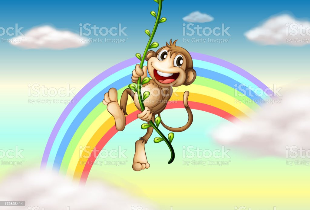 Monkey hanging on a vine plant near the rainbow royalty-free stock vector art