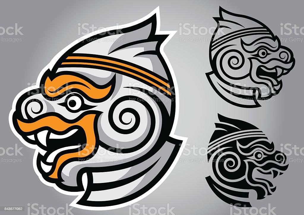 monkey head linethai emblem logo vector vector art illustration