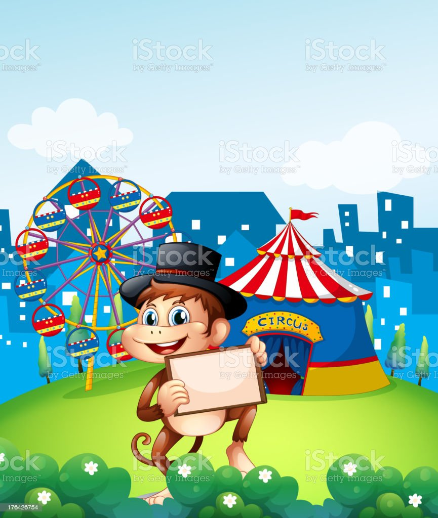 Monkey holding a frame in front of the carnival royalty-free stock vector art