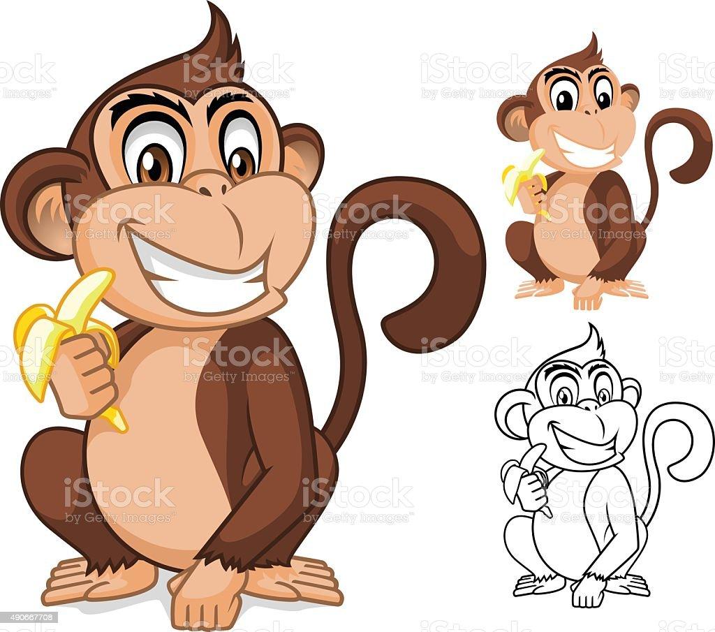 Monkey Holding Banana Cartoon Character vector art illustration