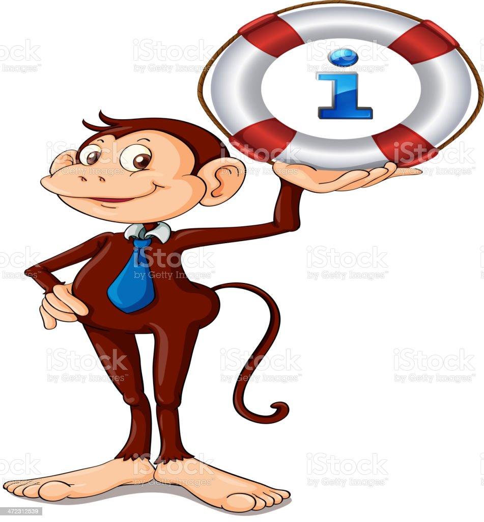 Monkey holding float royalty-free stock vector art