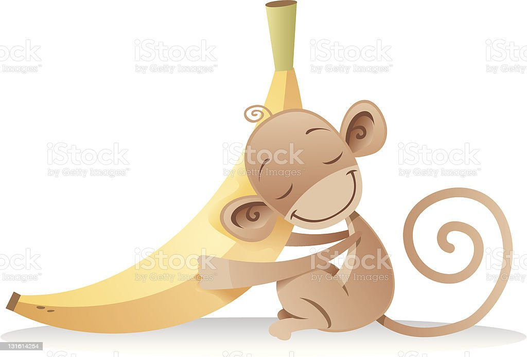 Monkey Hugging a Banana vector art illustration