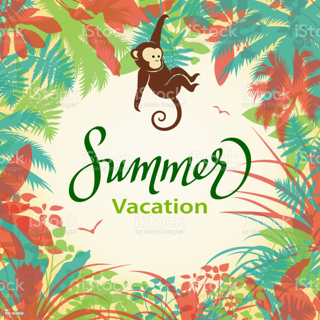 Monkey in Jungle vector art illustration