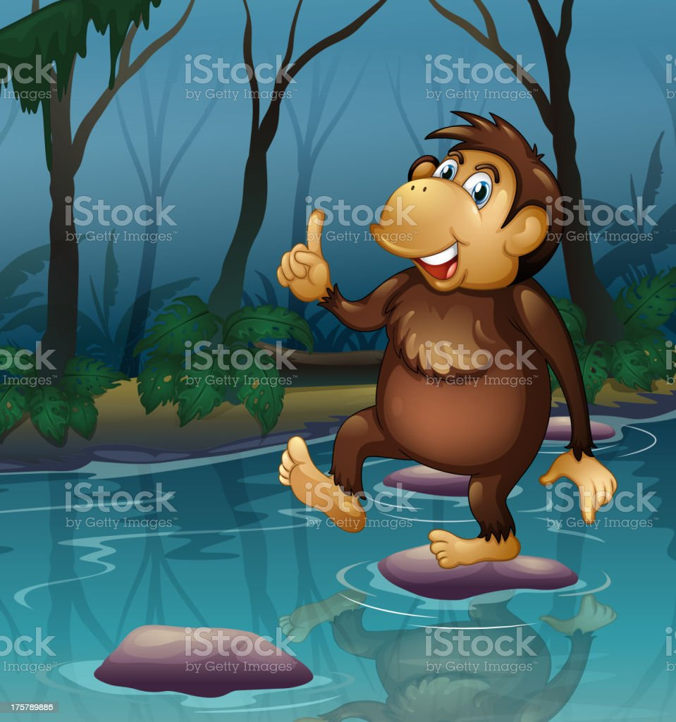 monkey in the pond royalty-free stock vector art