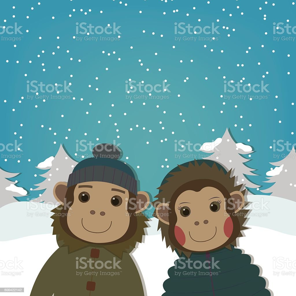 Monkey in Winter Clothes . New Year Greeting Card. royalty-free stock vector art