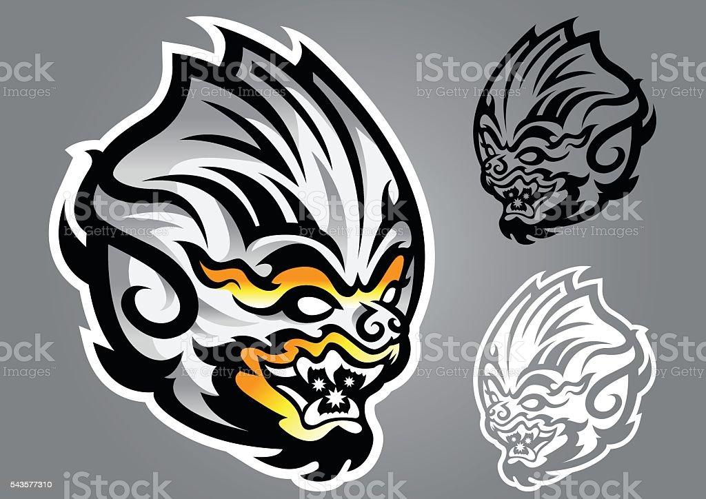 monkey linethai emblem logo vector vector art illustration