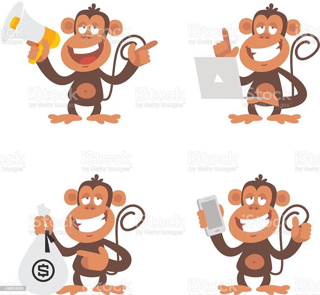 Monkey money and technology vector art illustration