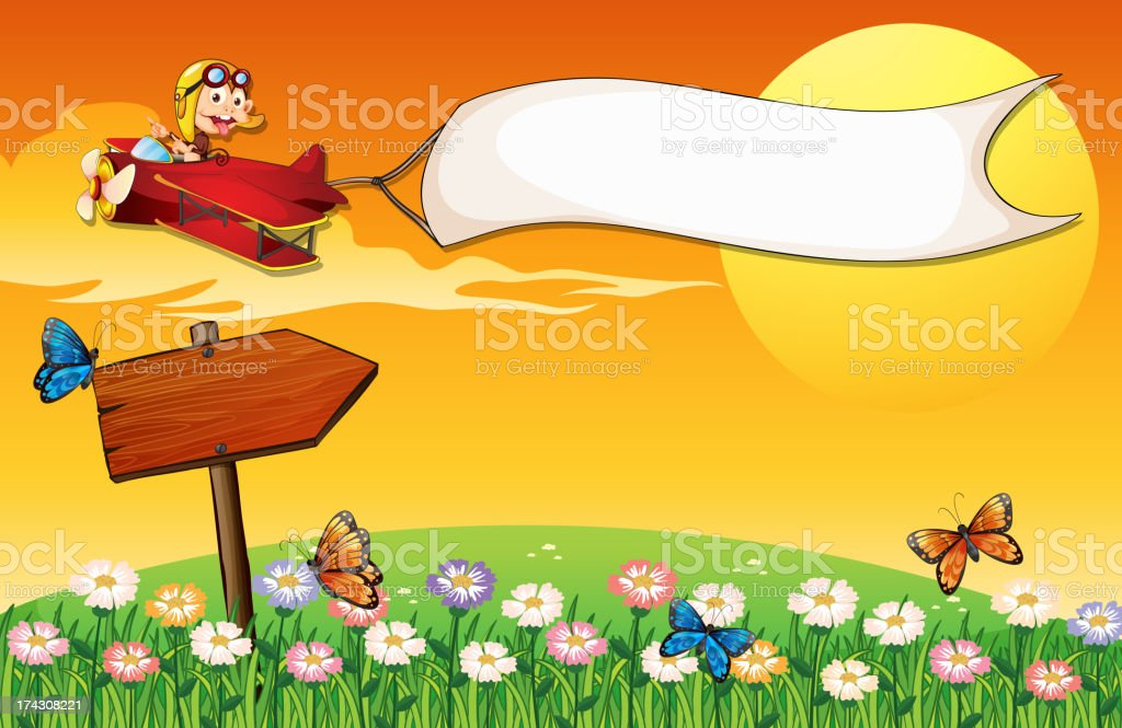 Monkey on a plane and butterflies in the garden royalty-free stock vector art