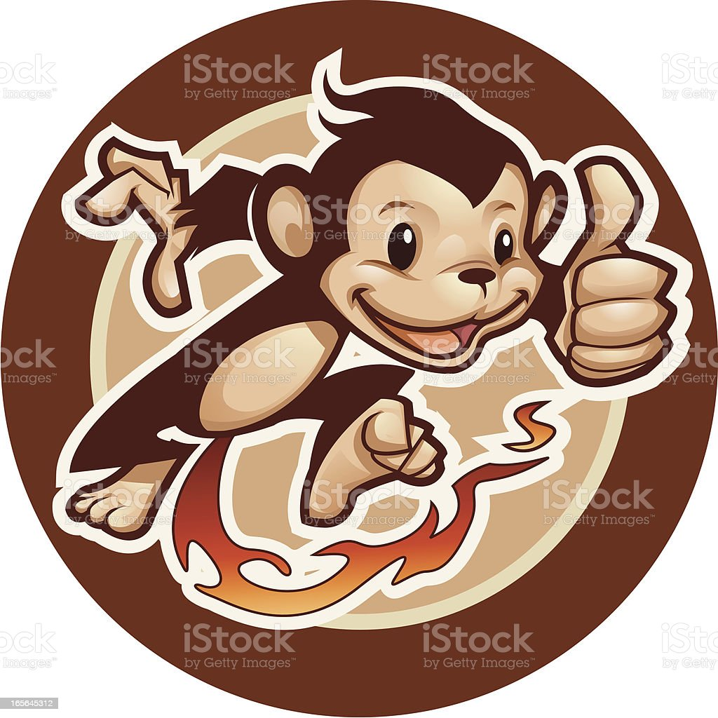 Monkey on Fire royalty-free stock vector art