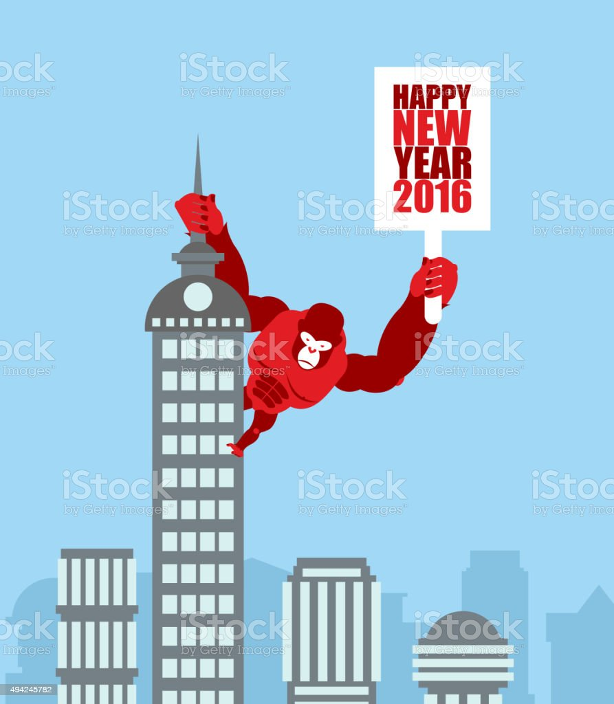 Monkey on skyscraper. King Kong holds  sign with new year. vector art illustration