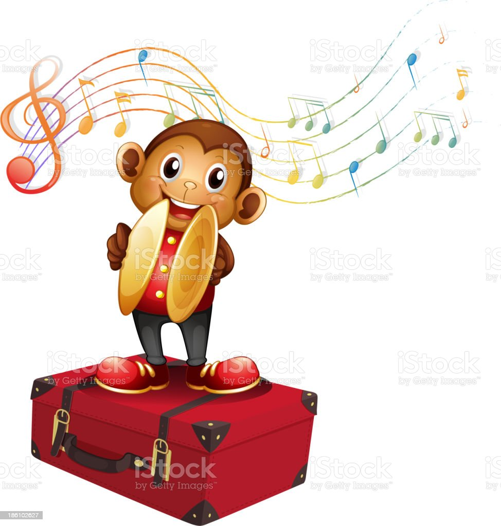 monkey playing cymbals above an attache case vector art illustration