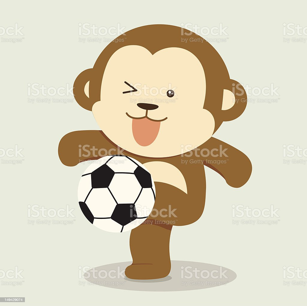 Monkey Playing Soccer royalty-free stock vector art