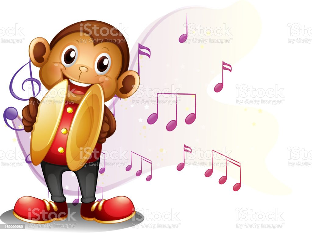 monkey playing with the cymbals royalty-free stock vector art
