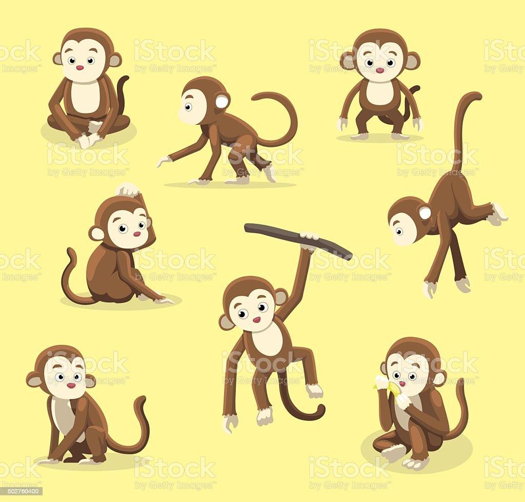Monkey Poses Cartoon Vector Illustration vector art illustration