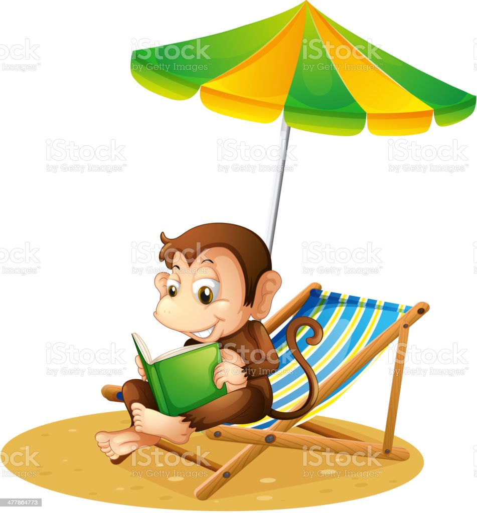 Monkey reading a book at the beach royalty-free stock vector art