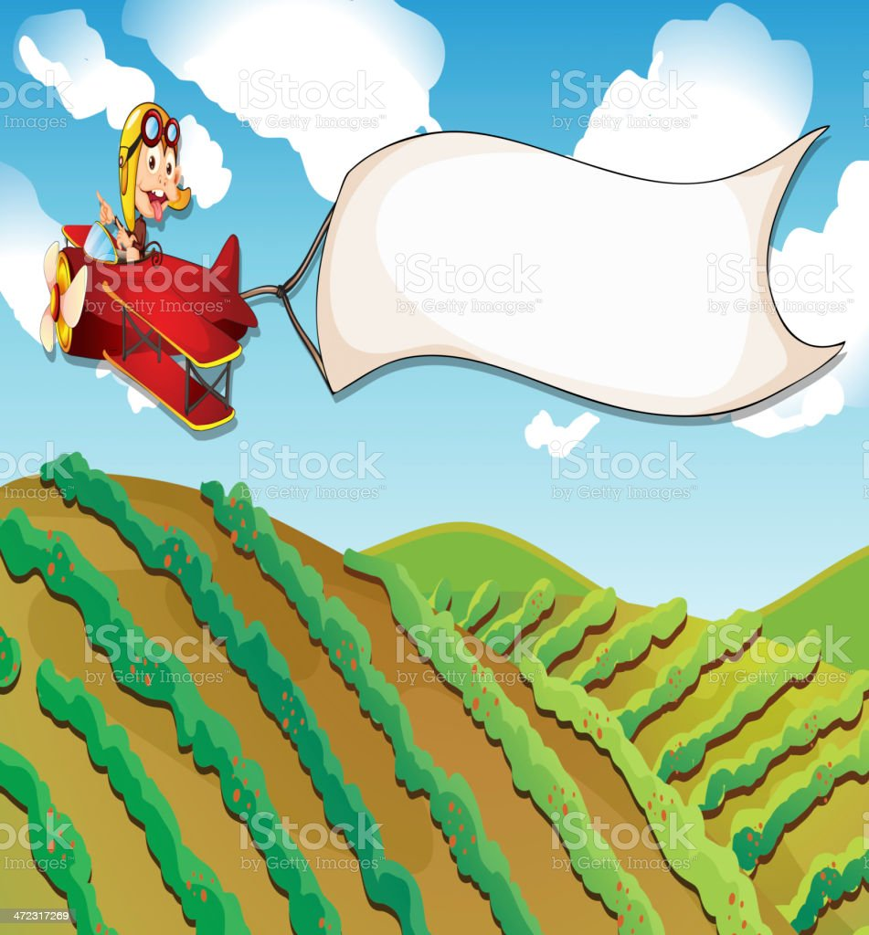 Monkey riding in a plane royalty-free stock vector art