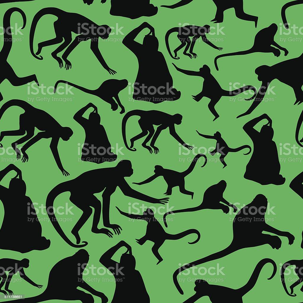 monkey shadows silhouette green and black pattern eps10 vector art illustration