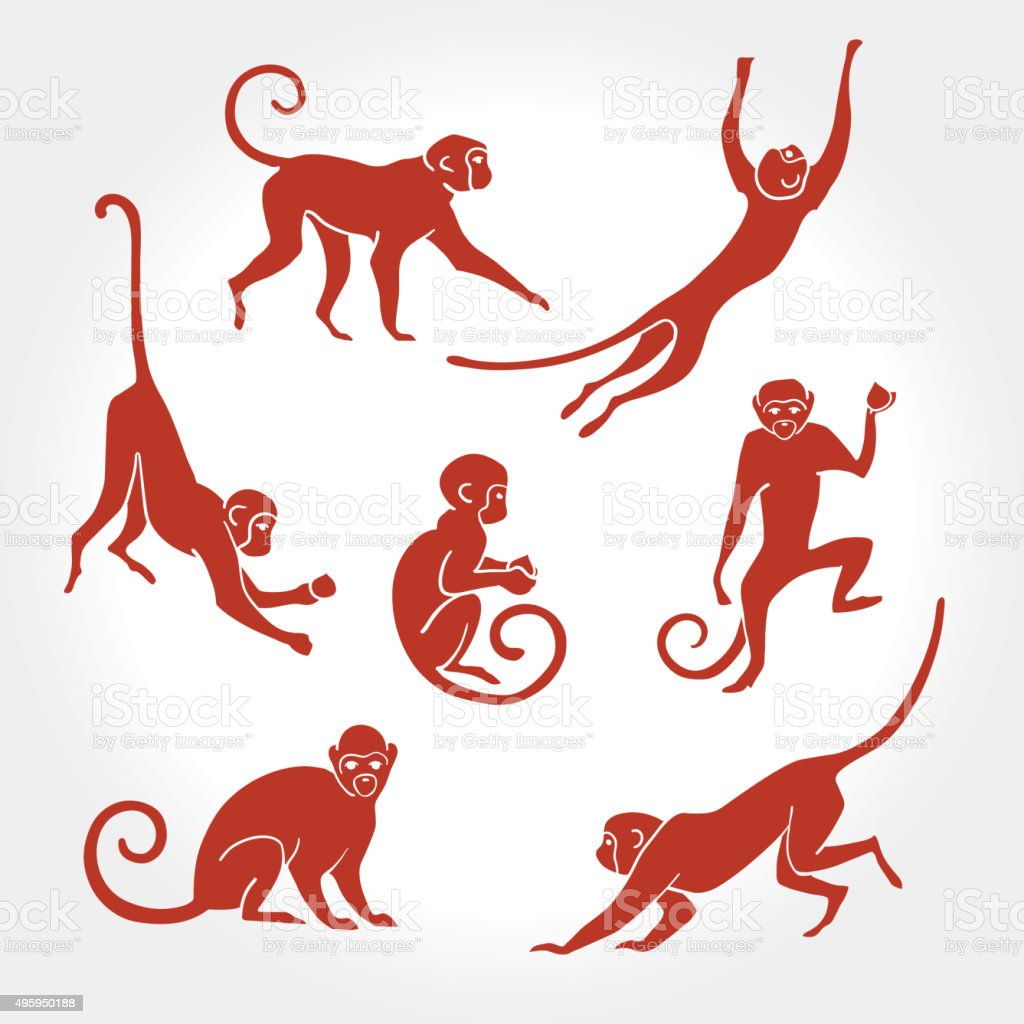 Monkey silhouette 2 vector art illustration