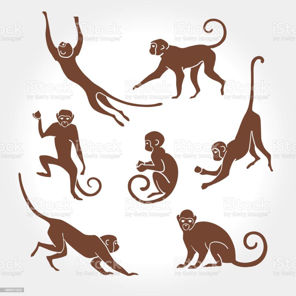 Monkey silhouette vector art illustration