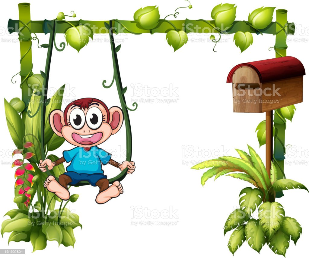 Monkey swinging beside a wooden mailbox royalty-free stock vector art