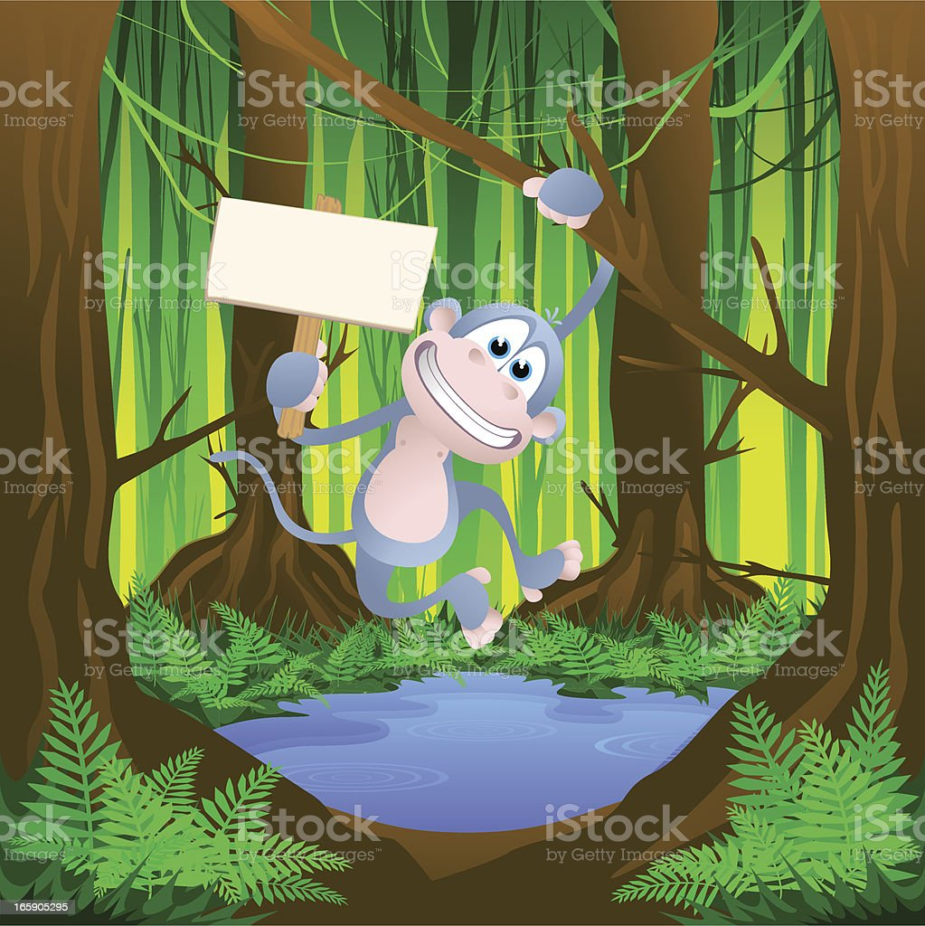 Monkey swinging with a blank sign royalty-free stock vector art