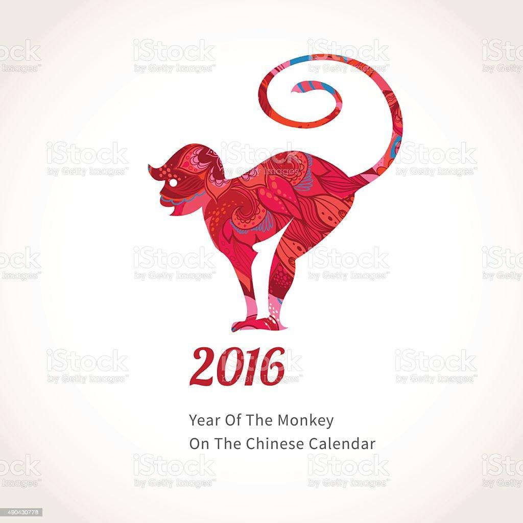 Monkey symbol of 2016 on the Chinese calendar. vector art illustration