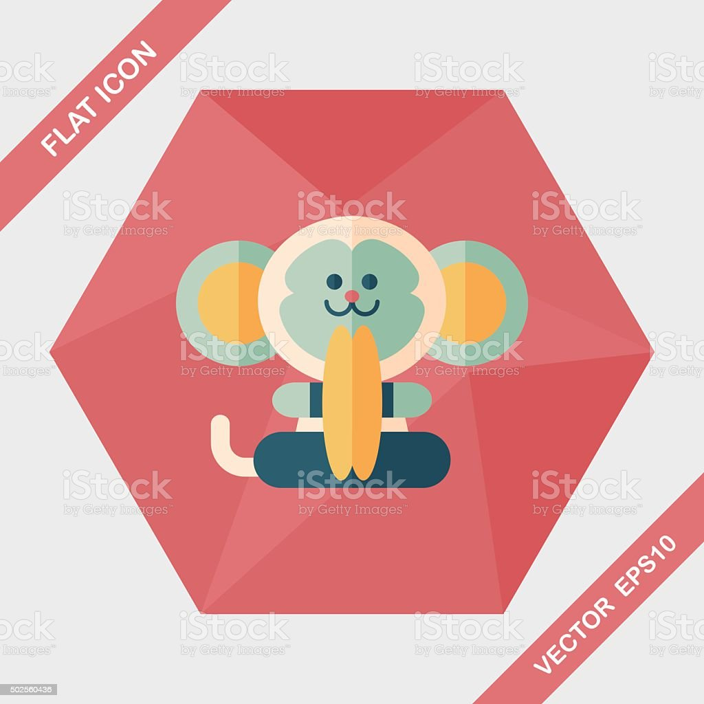 monkey toy flat icon with long shadow,eps10 vector art illustration