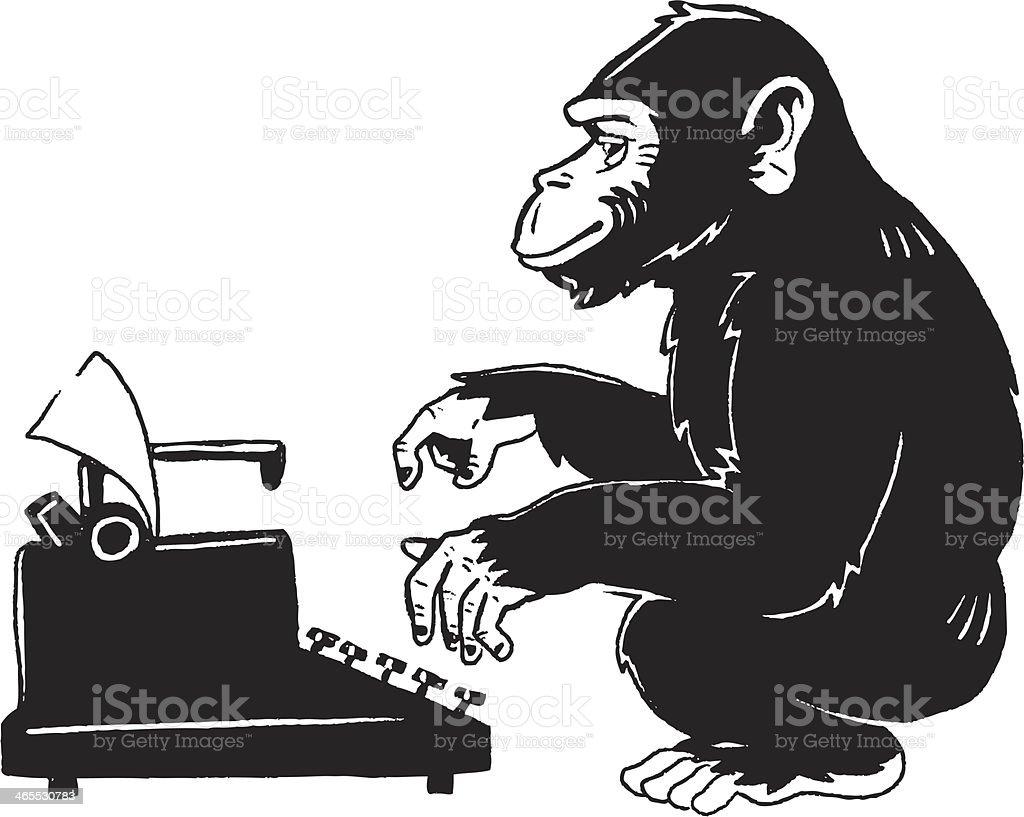 monkey type writer vector art illustration
