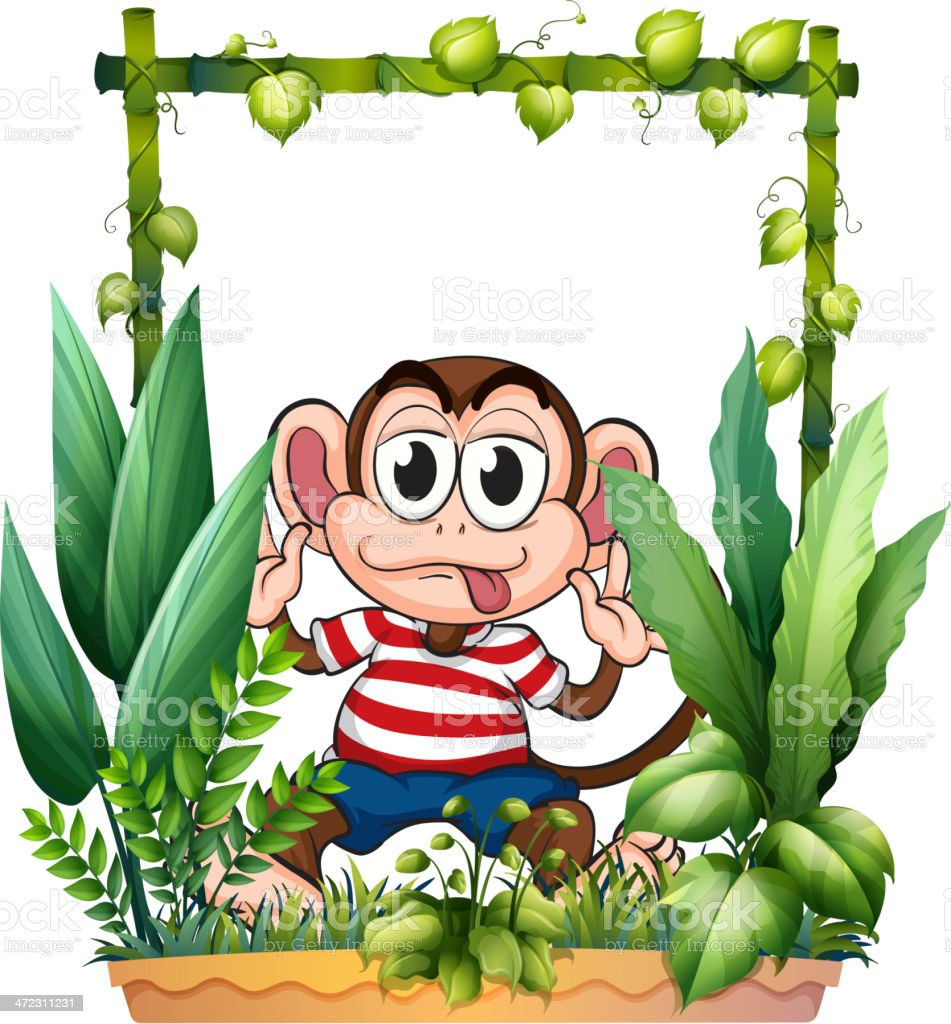 Monkey wearing a stripe shirt royalty-free stock vector art