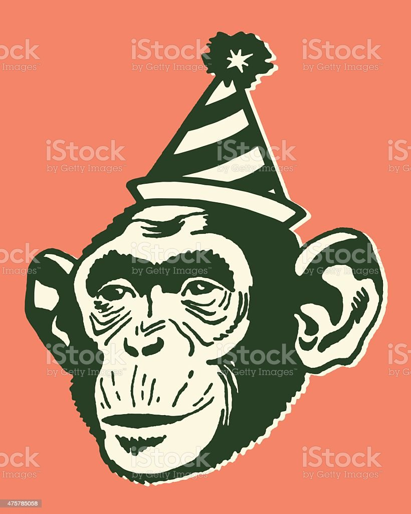 Monkey Wearing Party Hat vector art illustration