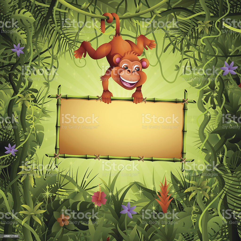 Monkey with a Bamboo Sign vector art illustration