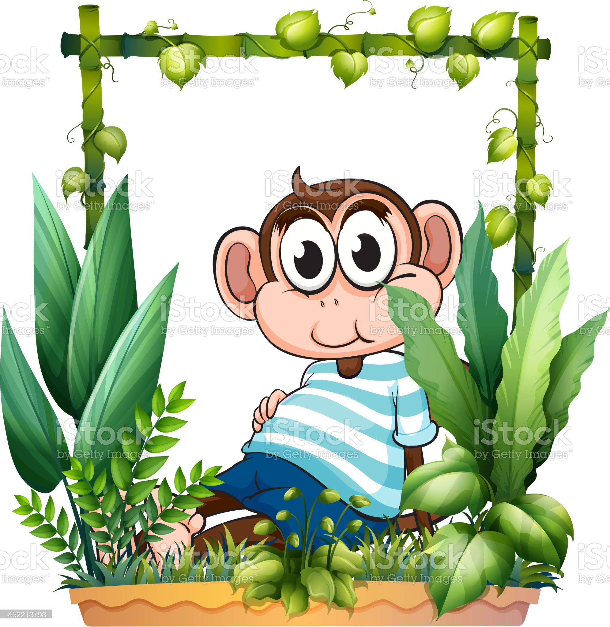 Monkey with a blue shirt in the garden royalty-free stock vector art