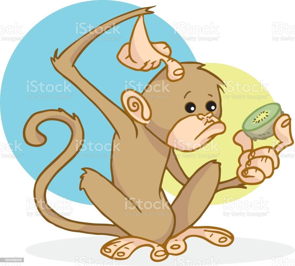 Monkey with a Kiwi vector art illustration